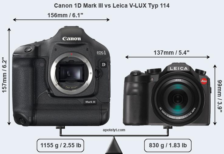 Size Canon 1D Mark III vs Leica V-LUX Typ 114