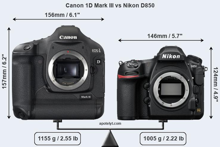 Size Canon 1D Mark III vs Nikon D850