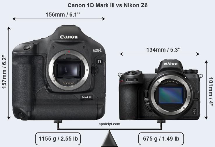 Size Canon 1D Mark III vs Nikon Z6