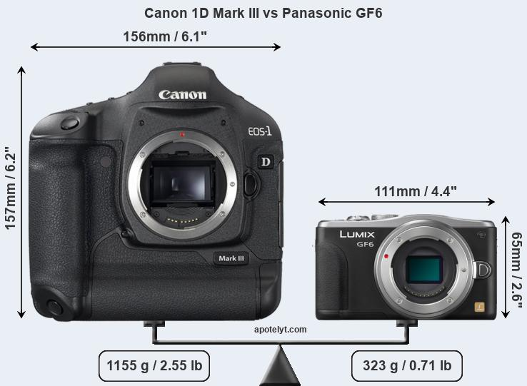 Size Canon 1D Mark III vs Panasonic GF6