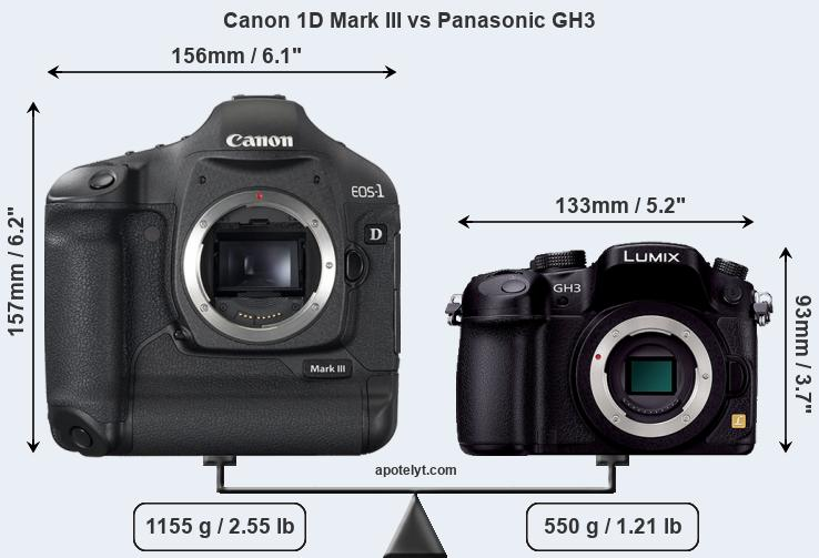 Size Canon 1D Mark III vs Panasonic GH3