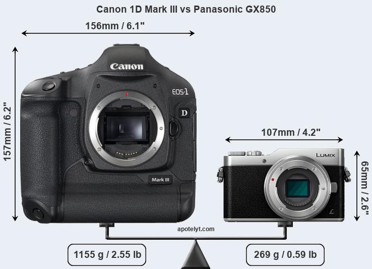 Size Canon 1D Mark III vs Panasonic GX850