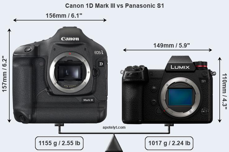 Size Canon 1D Mark III vs Panasonic S1