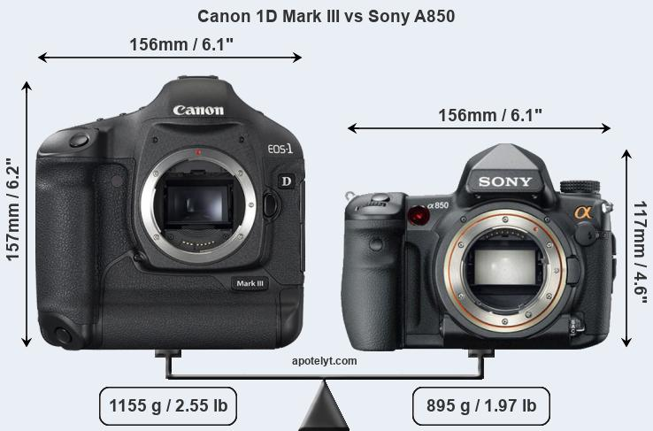 Compare Canon 1D Mark III and Sony A850