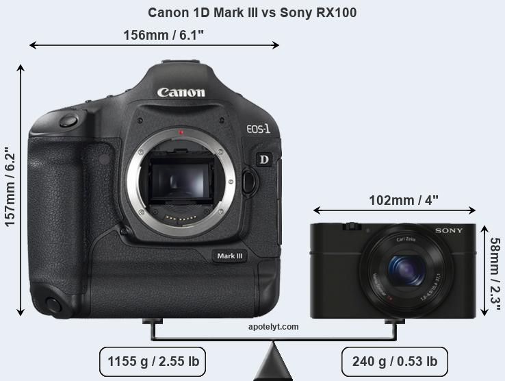 Size Canon 1D Mark III vs Sony RX100