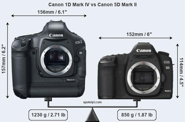 Size Canon 1D Mark IV vs Canon 5D Mark II