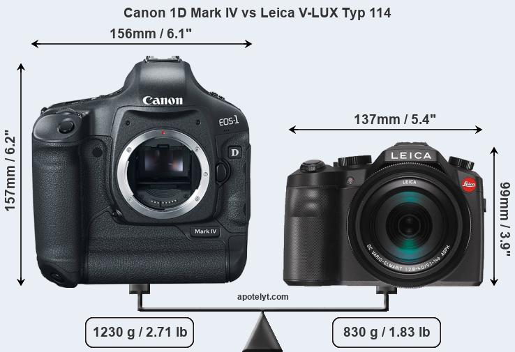 Size Canon 1D Mark IV vs Leica V-LUX Typ 114