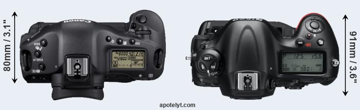 1D Mark IV versus D4 top view