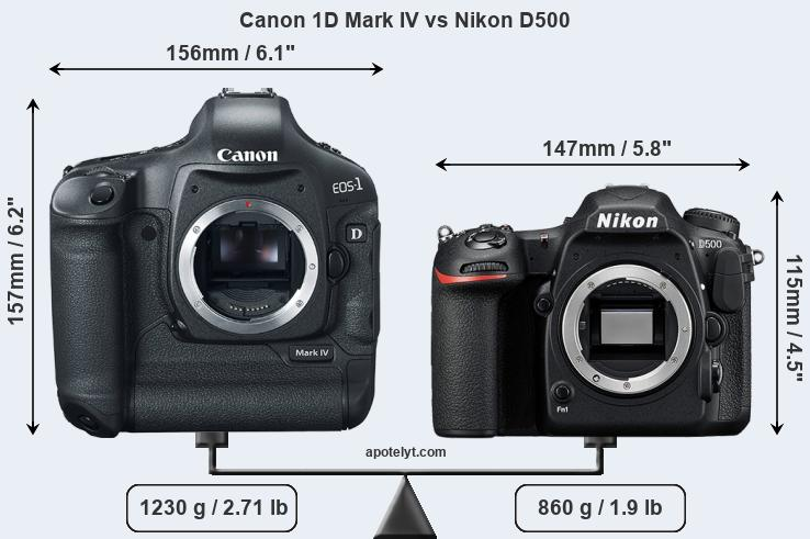 Size Canon 1D Mark IV vs Nikon D500