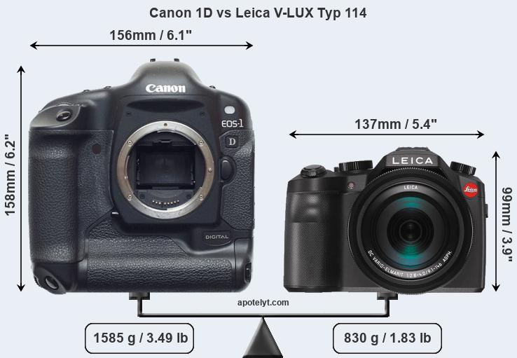 Size Canon 1D vs Leica V-LUX Typ 114