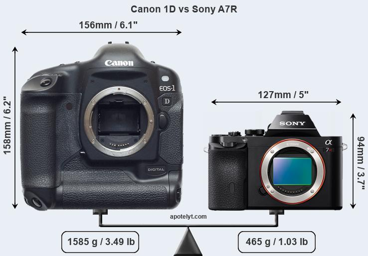Compare Canon 1D and Sony A7R