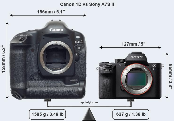 Size Canon 1D vs Sony A7S II