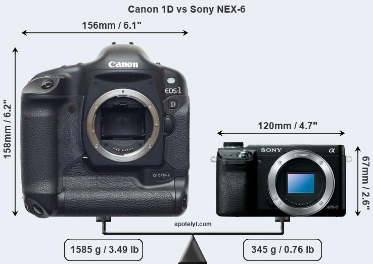 Compare Canon 1D and Sony NEX-6