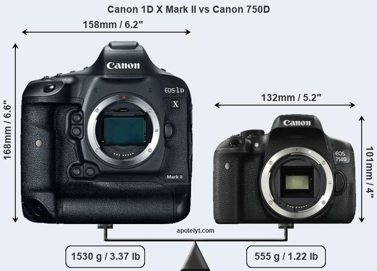 Compare Canon 1D X Mark II and Canon 750D