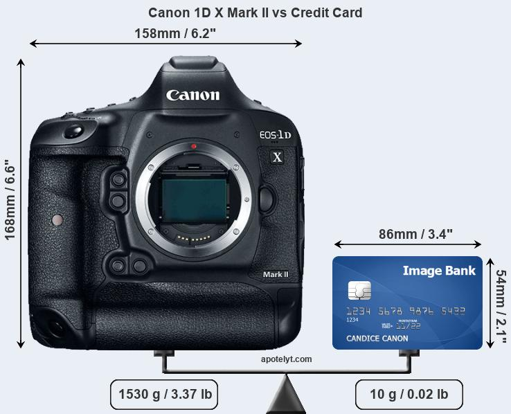 Canon 1D X Mark II vs credit card front