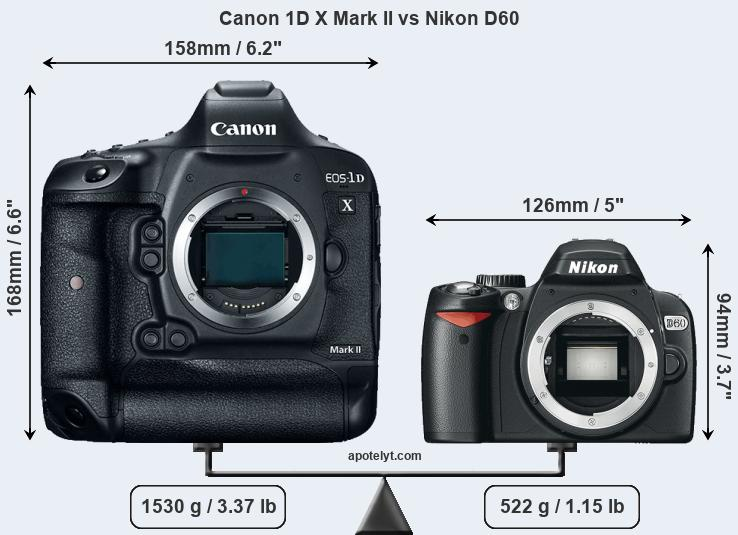 Size Canon 1D X Mark II vs Nikon D60