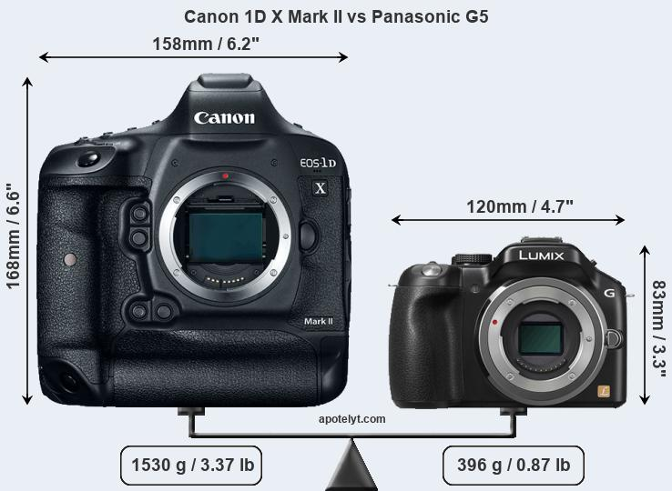 Size Canon 1D X Mark II vs Panasonic G5