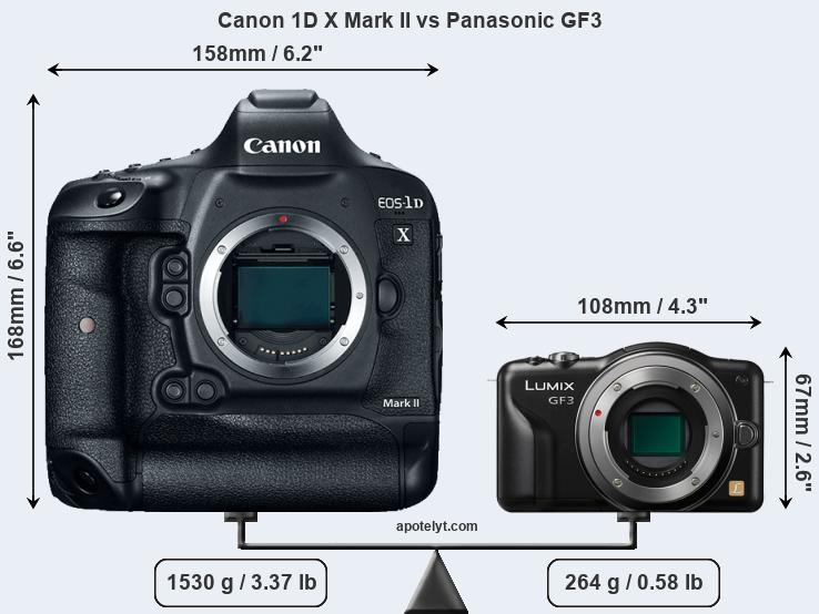 Size Canon 1D X Mark II vs Panasonic GF3