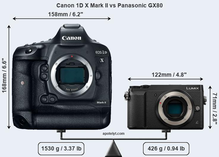 Size Canon 1D X Mark II vs Panasonic GX80
