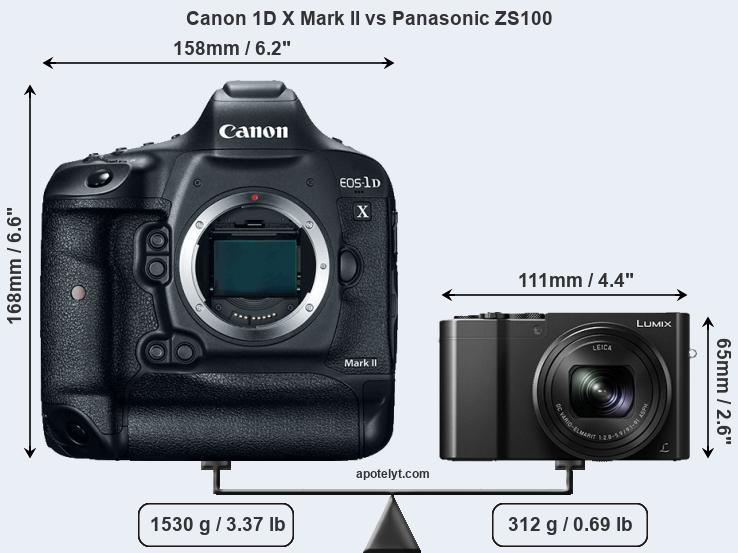 Size Canon 1D X Mark II vs Panasonic ZS100