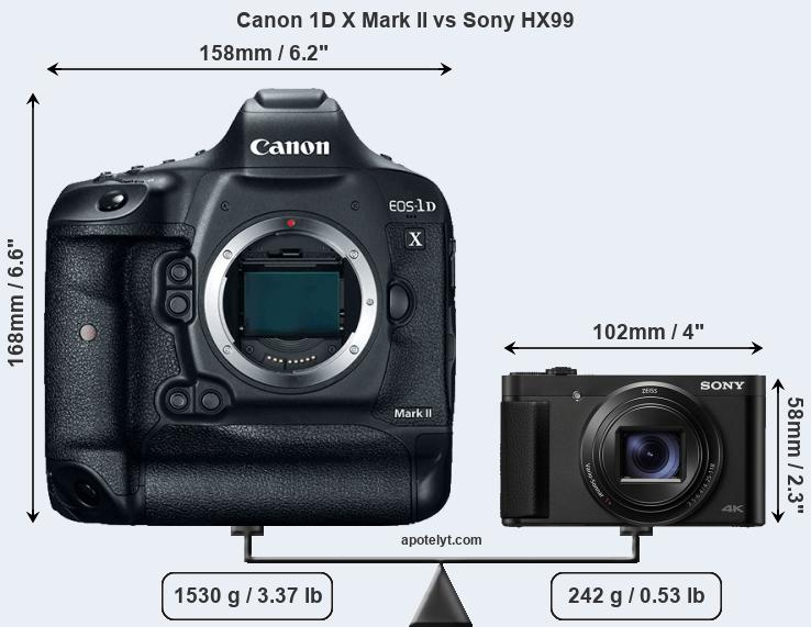Size Canon 1D X Mark II vs Sony HX99