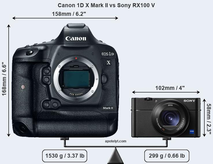 Compare Canon 1D X Mark II and Sony RX100 V