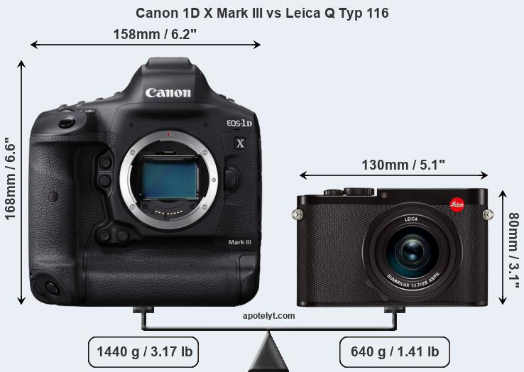 Size Canon 1D X Mark III vs Leica Q Typ 116