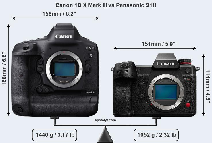 Size Canon 1D X Mark III vs Panasonic S1H