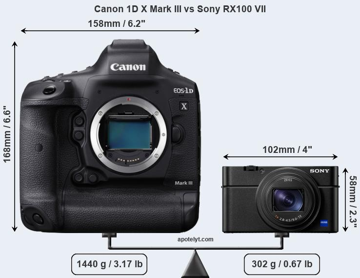 Size Canon 1D X Mark III vs Sony RX100 VII