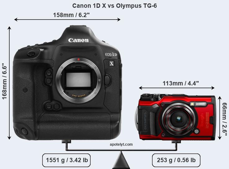 Size Canon 1D X vs Olympus TG-6