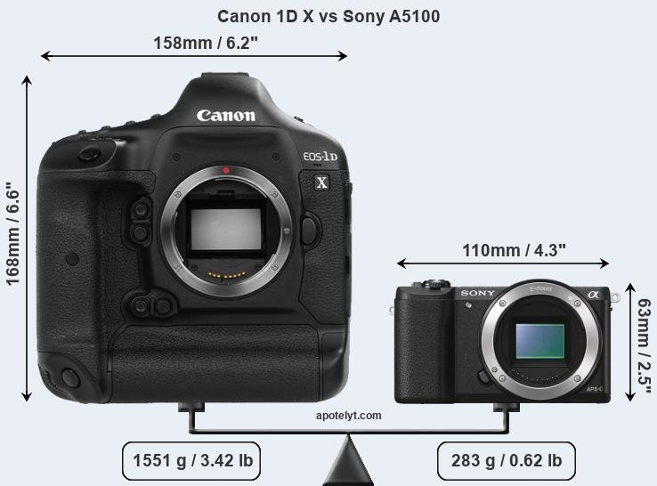 Size Canon 1D X vs Sony A5100