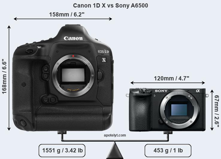 Size Canon 1D X vs Sony A6500