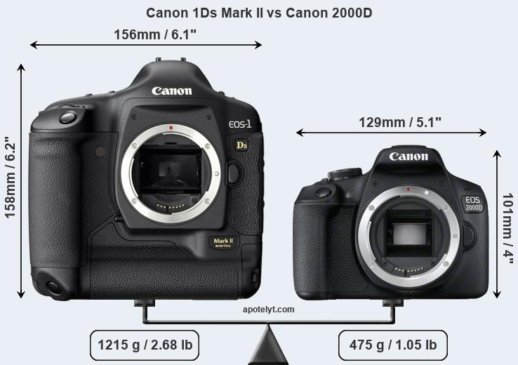 Size Canon 1Ds Mark II vs Canon 2000D