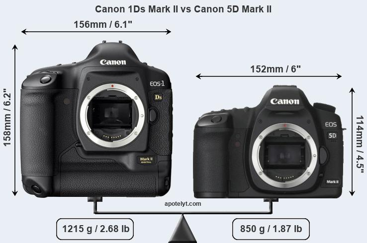 Size Canon 1Ds Mark II vs Canon 5D Mark II