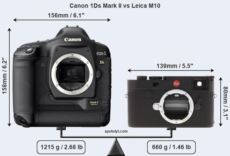 Size Canon 1Ds Mark II vs Leica M10