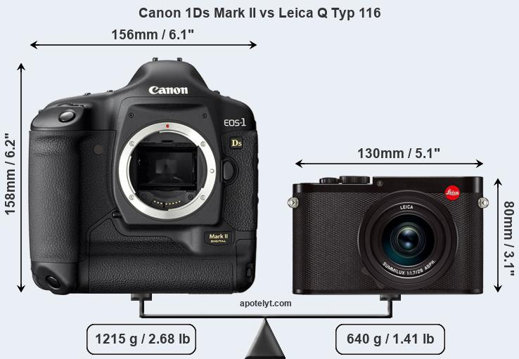 Size Canon 1Ds Mark II vs Leica Q Typ 116