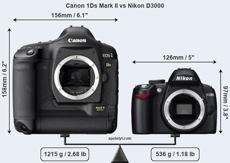 Size Canon 1Ds Mark II vs Nikon D3000