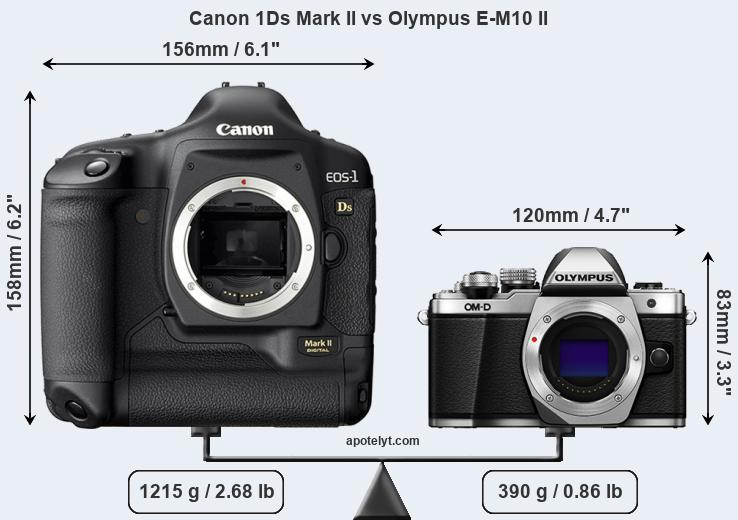 Size Canon 1Ds Mark II vs Olympus E-M10 II