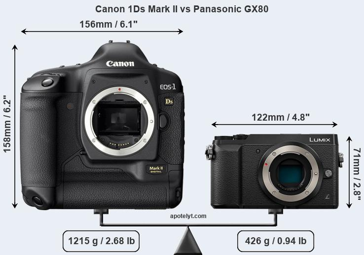 Size Canon 1Ds Mark II vs Panasonic GX80