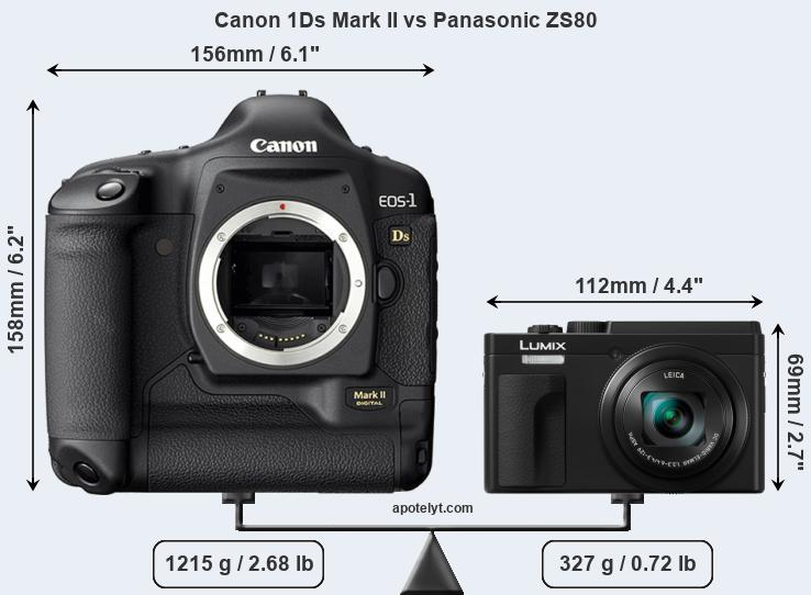 Size Canon 1Ds Mark II vs Panasonic ZS80