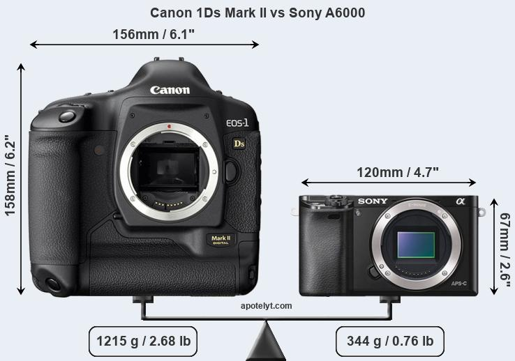 Size Canon 1Ds Mark II vs Sony A6000
