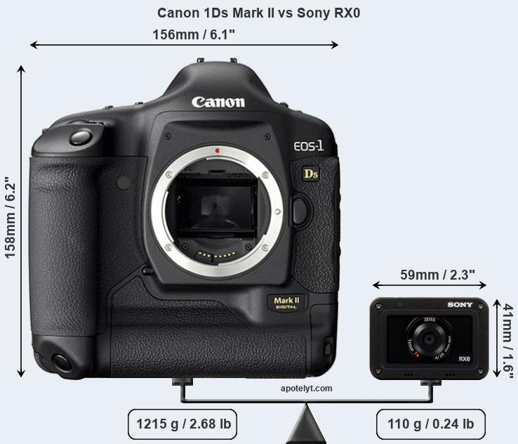 Size Canon 1Ds Mark II vs Sony RX0