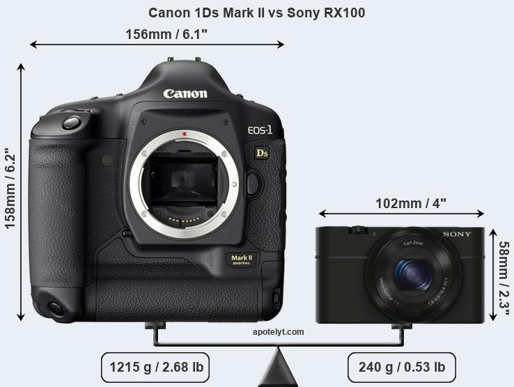 Size Canon 1Ds Mark II vs Sony RX100
