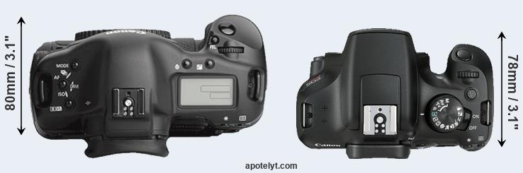 1Ds Mark III versus 1300D top view