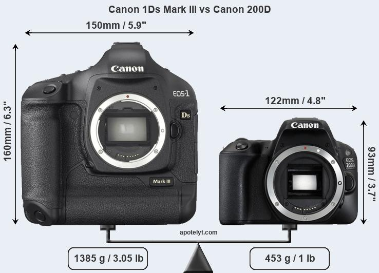 Size Canon 1Ds Mark III vs Canon 200D