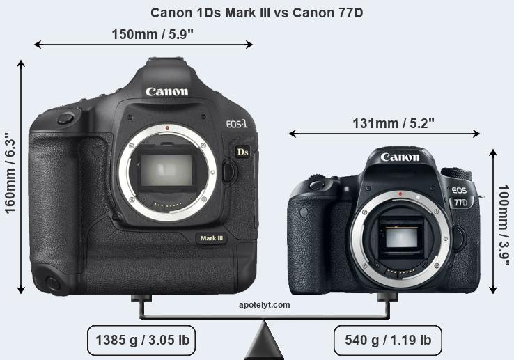 Size Canon 1Ds Mark III vs Canon 77D
