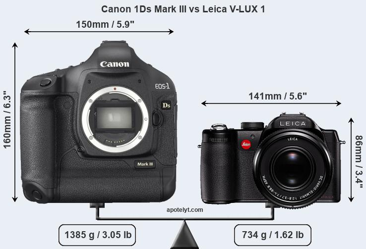Size Canon 1Ds Mark III vs Leica V-LUX 1