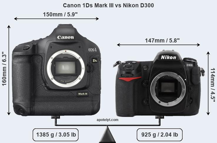 Size Canon 1Ds Mark III vs Nikon D300
