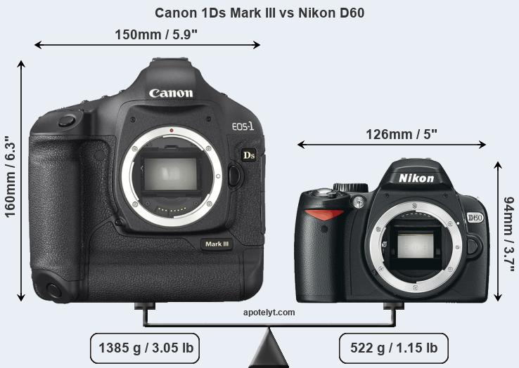 Size Canon 1Ds Mark III vs Nikon D60