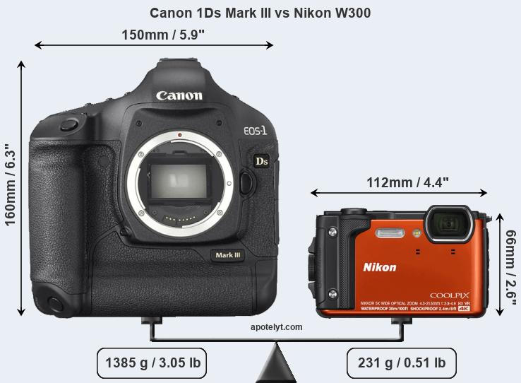 Size Canon 1Ds Mark III vs Nikon W300